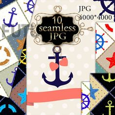 Set the Sea anchor scrapbooking Graphics Scrapbooking set a Sea anchor . This pack includes 10 JPG seamless patterns nautical theme. In the by Futurel