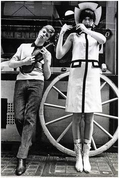Summer David Bowie posing with a mandolin and a model friend on Kingly Street, near Carnaby Street in London, for Boyfriend magazine. Bowie reportedly started a trend for tapered trousers at his school Bromley and used to dye his hair with food colouring. Angela Bowie, Julie Christie, Anthony Kiedis, Marianne Faithfull, Lauryn Hill, London Calling, Freddie Mercury, Paul Mccartney, Carl Jung