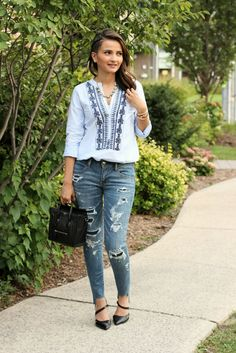 Black Celine Nano American Eagle Outfitters Distressed Jeans Blogger Outfit