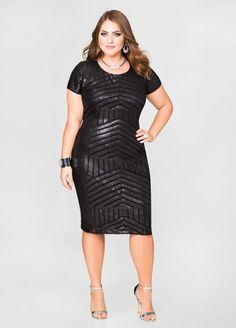 Love the detailsof this -Tonal Sequin Sheath Dress, Plus Size