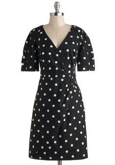 My Kind Of Glam Dress by Emily and Fin - International Designer, Cotton, Mid-length, Black, White, Polka Dots, Ruching, Casual, Vintage Insp...