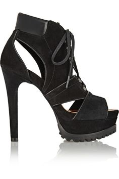 ALAÏA   Leather-trimmed suede ankle boots #Shoes #Boots #Ankle #ALAÏA