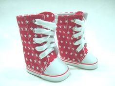 "RED w// WHITE STARS Knee Hi DOLL SNEAKERS BOOTS SHOES fits 18/"" AMERICAN GIRL DOLL"