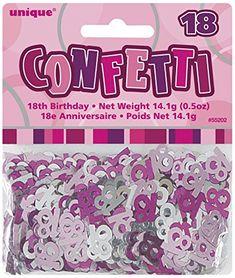 Pink & Silver Sparkle Happy 18th Birthday Confetti Foil S...