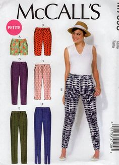 McCall's 7098 Sewing Pattern Free Us Ship Fitted Skinny Jeans Pants Shorts Capris  Size 6/14 14/22 Bust 30 31 32 34 36 38 40 42 44 2012 new by LanetzLiving on Etsy