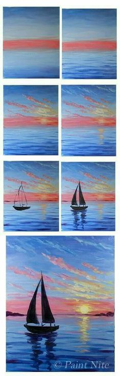 Step by step sailboat and sunset painting.
