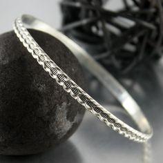 Detailed Sterling Silver Bangle Stacking by JenniferWoodJewelry