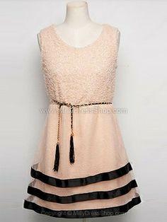 Pink Sleeveless Cascading Ruffle Elasic Waist Dress