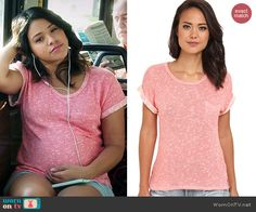 Jane's coral pink textured tee on Jane the Virgin Gina Rodriguez, Cool Outfits, Fashion Outfits, Jane The Virgin, Pregnancy Outfits, How To Roll Sleeves, Coral Pink, Cashmere Sweaters, Get The Look