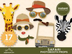 Safari Photo Booth Props Safari Birthday Safari by PaperBuiltShop