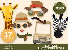 Safari Photo Booth Props Safari Birthday Safari by PaperBuiltShop