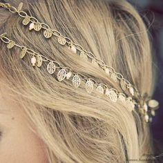 Boho hair accessory. A string of golden leaves. Half up hair with the string used as a sort of headband