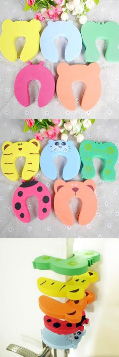 5pcs Door Stopper Animal Baby Security Card Protection For Children Tools Child & Baby Safety Gate Products Care -- BYA011 PT15