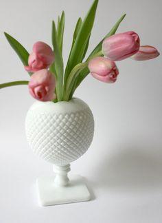 Vintage Westmoreland English Ivy Hobnail Milk Glass Vase mothers day. $30.00, via Etsy.