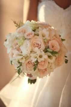 {Creamy Blush Roses, White Lisianthus + Buds, White Freesia, Greenery Wedding Bouquet}