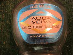 Vintage Aqua Velva After Shave Glass Bottle 6 fl oz for the price of 4 oz kitschy