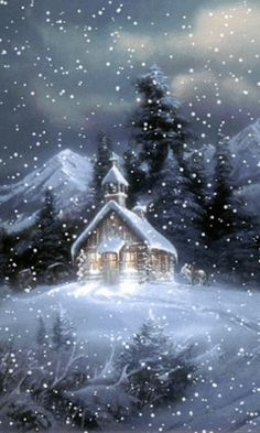 A beautiful animated winter GIF. In this GIF snow falling on a church. Its a cool screen saver and also a very special GIF for Christmas.