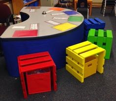 pallet crate seats with storage box underneath, laminated drawing paper to match, reading strategies bookmarks laminated to the table. I would add a phonics linking letter chart to the table for the beginning readers.