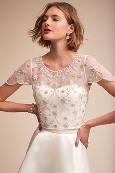 Reception: remove lace and switch into an art deco/vintage inspired beaded top. (not necessarily this one... BHLDN Elianne Top Ivory)