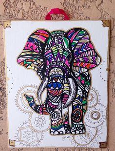 Elephant Wall Decor Colorful Tribal Elephant by LittleGypsyFinds