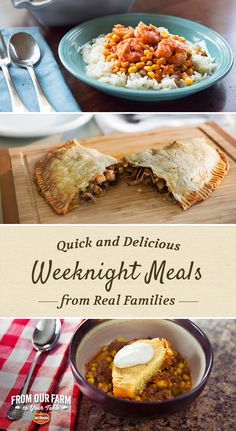 Quick and Delicious Weeknight Meals …from Real Families -The Savory Meat and Veggie Pasties and the Southern BBQ Cheese Corn Casserole both sound like they'd be popular here. I Love Food, Good Food, Yummy Food, Delicious Recipes, Weeknight Meals, Quick Meals, Crockpot Recipes, Cooking Recipes, Food For Thought