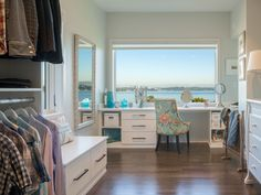 Who doesn't love a master closet with lots of storage and a makeup counter overlooking a beautiful view?