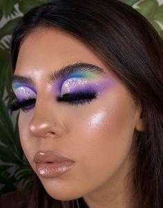 Makeup Eye Looks, Eye Makeup Art, Glam Makeup, Pretty Makeup, Makeup Inspo, Makeup Inspiration, Purple Makeup, Colorful Eye Makeup, Simple Eye Makeup