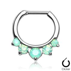 316L Surgical Steel Septum Clicker with 5 Mint Opalite Gems Size: 16G Bar…