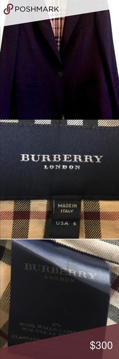 Authentic Black Burberry Blazer in Size 6 100% authentic Burberry London Ladies' Black Wool Blazer with Nova Check lining in 100% Cotton Baumwolle.  Features 2 exterior pockets and 1 interior pocket.  Form-fitting.  Length 26 inches. Made in Italy. Size US 6 / UK 8.  Gorgeous! Burberry Jackets & Coats Blazers