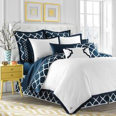 product image for Jill Rosenwald Hampton Links Reversible Duvet Cover in Navy/White