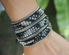Red Crystals mix wrap bracelet with chain Boho by G2Fdesign