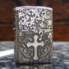 Regular Sterling Silver Full Engraved Cross Zippo Lighter