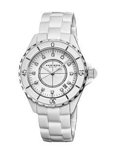 Women's Ceramic & Crystal Watch by Akribos XXIV on Gilt