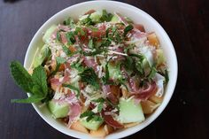 Melon, Prosciutto and Mint Salad by thedoctorsdaughter #Salad #Melon #Prosciutto #Mint