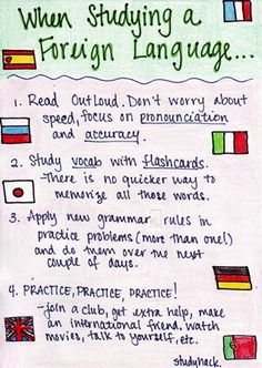 Things to keep in mind when learning a foreign language. Always read out loud! Focus on pronounciation and accuracy. You may sound better in your head than in real life, and without practice you won't improve. Study vocab with flashcards. Take your time to make them. Apply new grammar rules in practice problems. Without application and practice, there won't be much use to it. Practice, practice, practice!