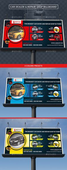 Car Dealer & Auto Services Signage Billboard by GilleDeVille Description Increase your sales and clients with this professional and eye-catching Car Dealer & Auto Services Billboard. It can