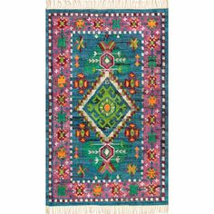 Shop nuLOOM Multicolor Southwestern Cotton Flatweave Diamond Medallion Tassel Area Rug - Overstock - 19518786 - x - Blue Blue Tips, Bohemian Pattern, Tribal Patterns, Room Rugs, Rugs Online, Beige Area Rugs, Bold Colors, Colorful Rugs, Rug Size
