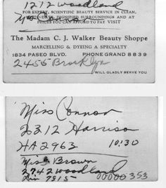 Business card from Madam C.J. Walker Beauty Shoppe