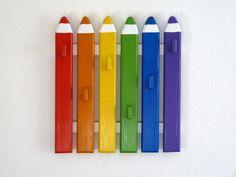 *Regenbogen-Garderobe-Buntstifte*+von+♥+Mike+♥+auf+DaWanda.com
