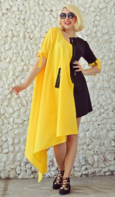 ON SALE 25% OFF Black and Yellow Extravagant Dress / by Teyxo