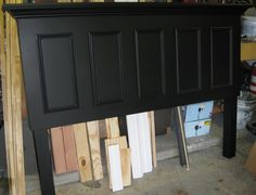 5 Panel Door Converted Into A King Size Headboard Finished In Satin Black Contact