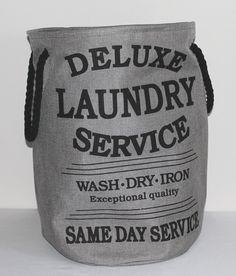Wäschesack Wäschebeutel Wäsche Aufbewahrungsbox Deluxe Laundry Style 033 in grau Stoff Leinen Used Look ca. 60 Liter: Amazon.de: Küche & Haushalt