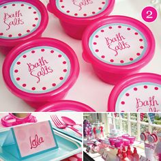 spa party ideas for girls birthday - Bing Images. Bath salts in individual containers for se at spa party or take home favor. Spa Day Party, Girl Spa Party, Spa Birthday Parties, Pamper Party, Sleepover Party, Party Time, Kid Parties, Kitty Party, Kinder Spa Party