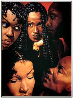 """pinner:  """"Faces of Eve"""" by Gerald Griffin - This is my very 1st African American Art print.  Still my favorite to this day."""