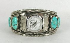 Vintage NOS Sterling Silver and Turquoise watch cuff