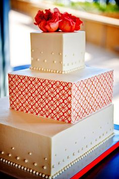 Wedding cake with orange accents
