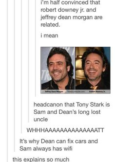 Tony Stark is Sam and Dean Winchester's long lost uncle Supernatural Memes, Supernatural Crossover, Winchester Supernatural, Winchester Boys, Fandom Crossover, Downey Junior, Oui Oui, Super Natural, Marvel Memes