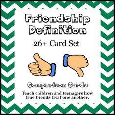 Social Skills: Friendship Definition Card Set  What a good friend is and what a good friend isn't activity. $