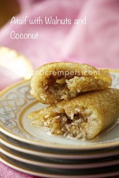 Ataif with Walnuts and Coconut – Coffee and Crumpets Ataif with Walnuts and Coconut/Arabic pancakes Arabic Dessert, Arabic Sweets, Arabic Food, Middle East Food, Middle Eastern Desserts, Dessert Arabe, Palestinian Food, Delicious Desserts, Dessert Recipes