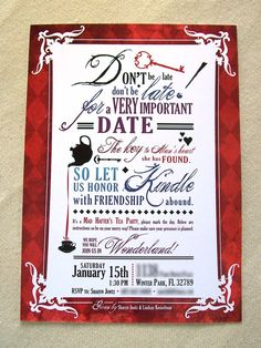mad hatter invite idea! ac...created my own & added littles rhinestones! loved the result! ac
